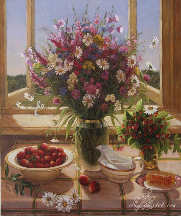Купить натюрморт с цветами калужского